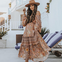 Jastie 2019 Summer Holiday Dress Long Sleeve V Neck Boho Dresses Gypsy Floral Print Maxi Dress Beach Women Vestidos de verano