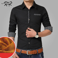 Brand Autumn Winter Casual Men Shirt Warm Mens Dress Shirt Thick Male Formal Shirts Plus Size