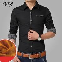 Brand Autumn Winter Casual Men Shirt Warm Mens Dress Shirt Thick Male Formal Shirts Plus Size