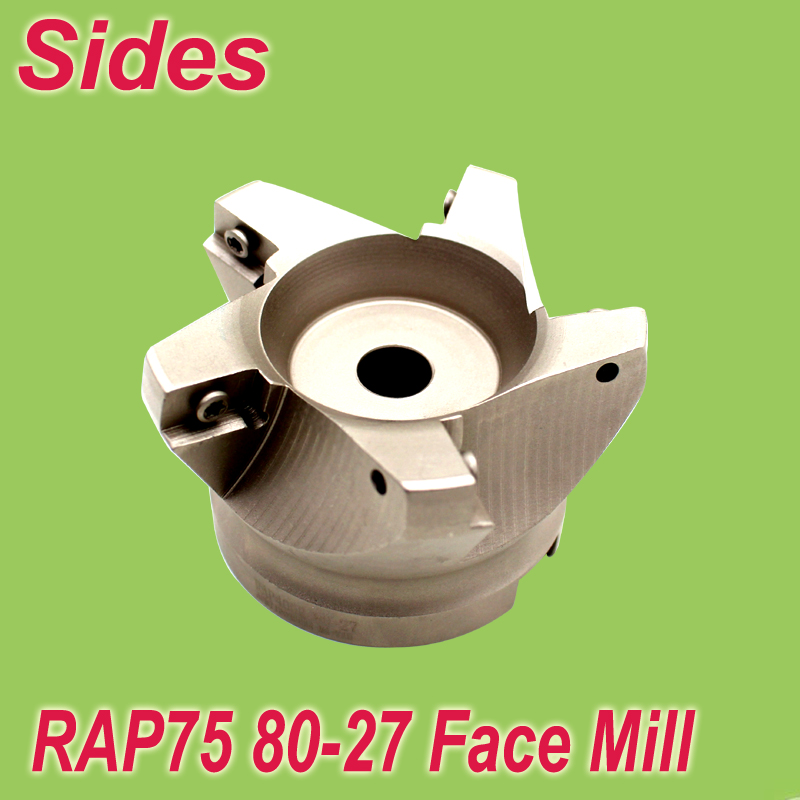 Free Shiping RAP75-80-27-5T 75 Degree High Positive Face Mill 3.15 Cutting Dia  For APMT1604 Used From 400R 90 Degree CutterFree Shiping RAP75-80-27-5T 75 Degree High Positive Face Mill 3.15 Cutting Dia  For APMT1604 Used From 400R 90 Degree Cutter