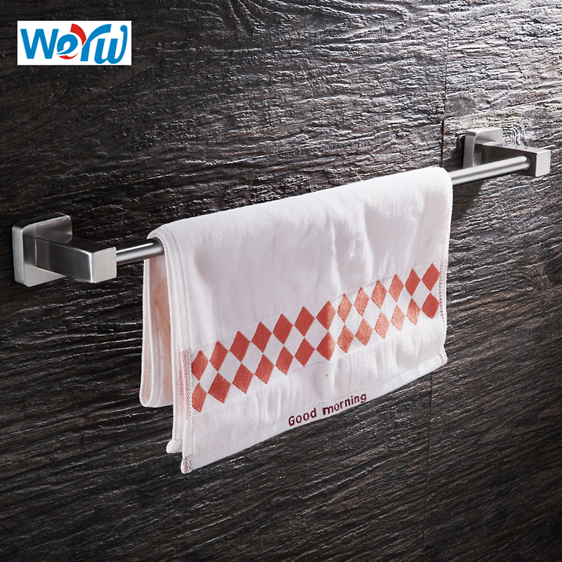 WEYUU Towel Bar SUS304 Stainless Steel Wall mounted Facecloth Rack Bathroom Accessories Wire drawing simple style sus304 stainless steel bathroom wall mounted towel rack bathrobes