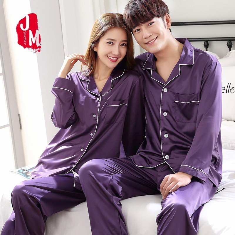 2018 Lovers Long Sleeve Satin Men Pajamas Set Solid Two-Piece Autumn Silk Men Sleepwear Suit Pijama Man Summer Pyjamas Male XXXL