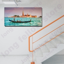 Large Canvas Print Wall Art Gondolas Grand Canal Venice Painting Contemporary Picture for Living Room Office Decor
