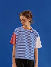 Harajuku Playful Summer New WomenT-shirt Korean Original T Shirts Blue Short-sleeved Striped Tee Tops Stitching Loose For Female