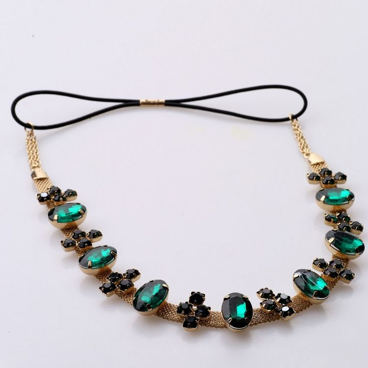 European And American Ladies Hot Texture Flash Drill Emerald Hair Band Hairband Elastic Hair Jewelry New Style