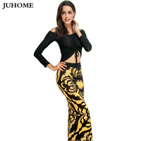 2017 Fashionable Autumn Sexy Crop Tops Two Pieces Set Dress Robe Vintage Bandage Dress Female Clothing