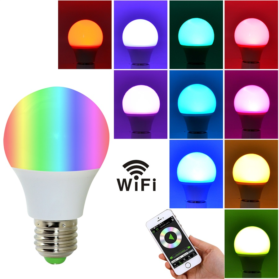 4.5W E27 WIFI Smart LED Bulb RGB+White Dimmable Support IOS/Android APP Control LED Lamp