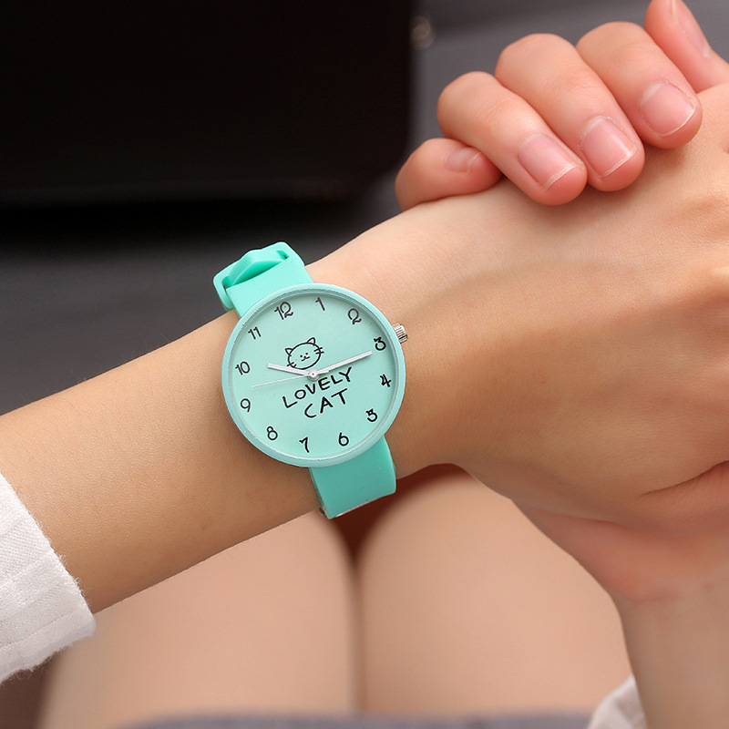 Lovely Cat Silicone Wrist Watch Women Watches Ladies Fashion Quartz Wristwatch For Woman Clock Female Hours Relog Montre Femme