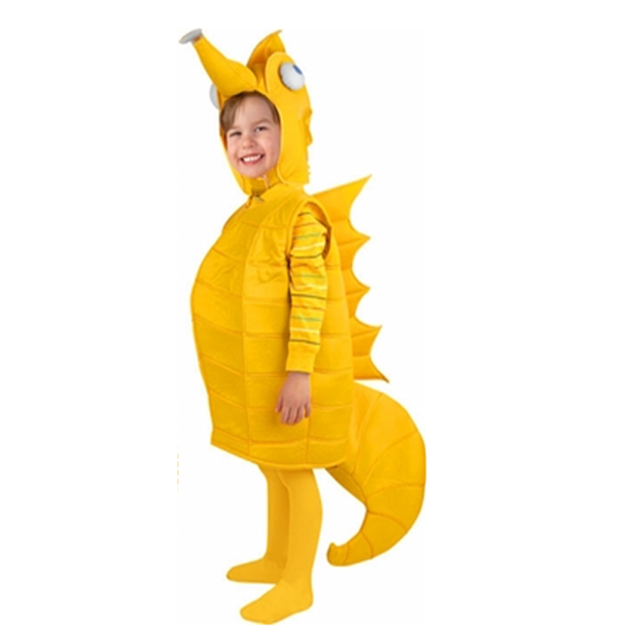 Toddler Yellow Seahorse Jumpsuit Sea Creature Costume Halloween Cosplay for Child