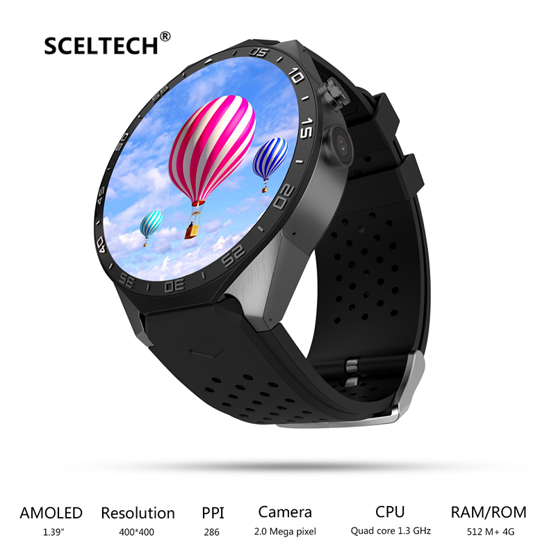 KW88 Smart Watch 1.39 Inch MTK6580 Quad Core 1.3GHZ Android 5.1 3G Smartwatch 400mAh 2.0 Mega Pixel Heart Rate Monitor Tracker