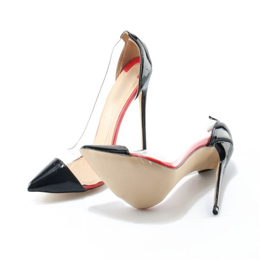 Clear PVC Stiletto Pumps On Sale Black Patent Leather Transparent  High Heel Dress Shoes Pointed Toe Party Quality