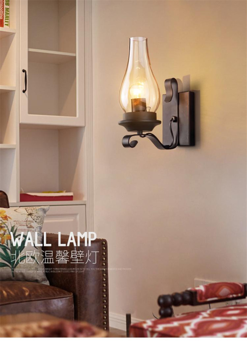 wall lamp Glass wall lamp of the head of a bed Ted industrial wind restoring ancient ways bar lamps and lanterns|Pendant Lights|   - title=