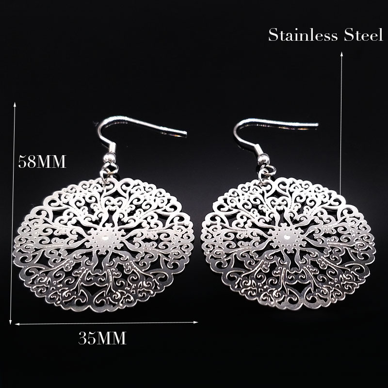 2020 New Design Silver Color Big Earrings for Women Flower Hollow Round Silver Color Stainless Steel Drop Earrings brinco boho