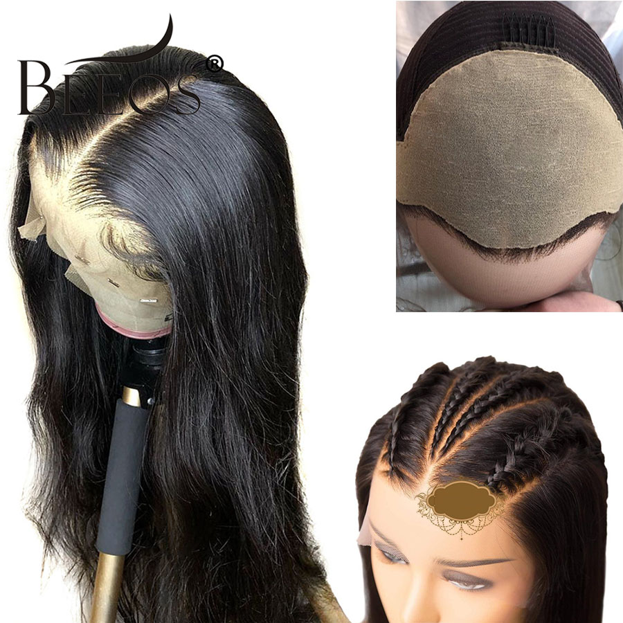 Beeos 13*6 Lace Front Human Hair Wigs Undetactable Brazilian Remy Hair Wigs Straight Fake Scalp Glueless Lace Wig With Baby Hair