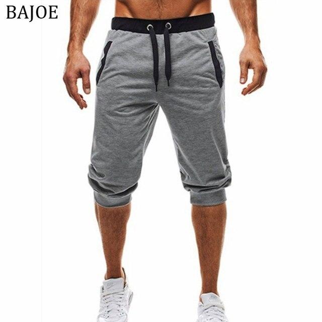 f9f10fe3cfa97f BAIJOE Summer men Joggers Men Knee Length Shorts Color Patchwork Joggers  Short Sweatpants Trousers Men Bermuda Shorts masculina
