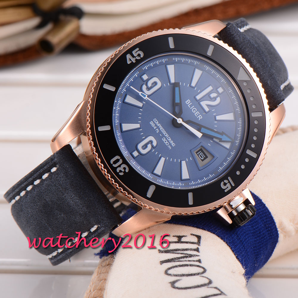 43mm Bliger Blue Dial Golden Case Auto Date Mineral Crystal Date Miyota Automatic Movement Mechanical Wristwatches Men's Watch