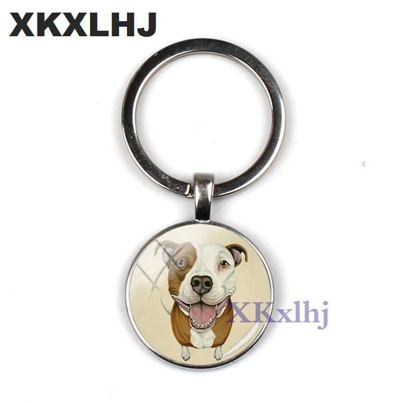 XKXLHJ 2018 الموضة حفرة البلدغ حلقة رئيسية بيتبول مفتاح سلسلة زجاج قبة مفتاح سلسلة مستديرة اليدوية سيدة المفاتيح