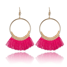 Statement Golden Circle Boho Ethnic Tassel Fringe Women Ladies Hanging Drop Earrings 2017 Fashion Jewelry Accessories Wholesaale