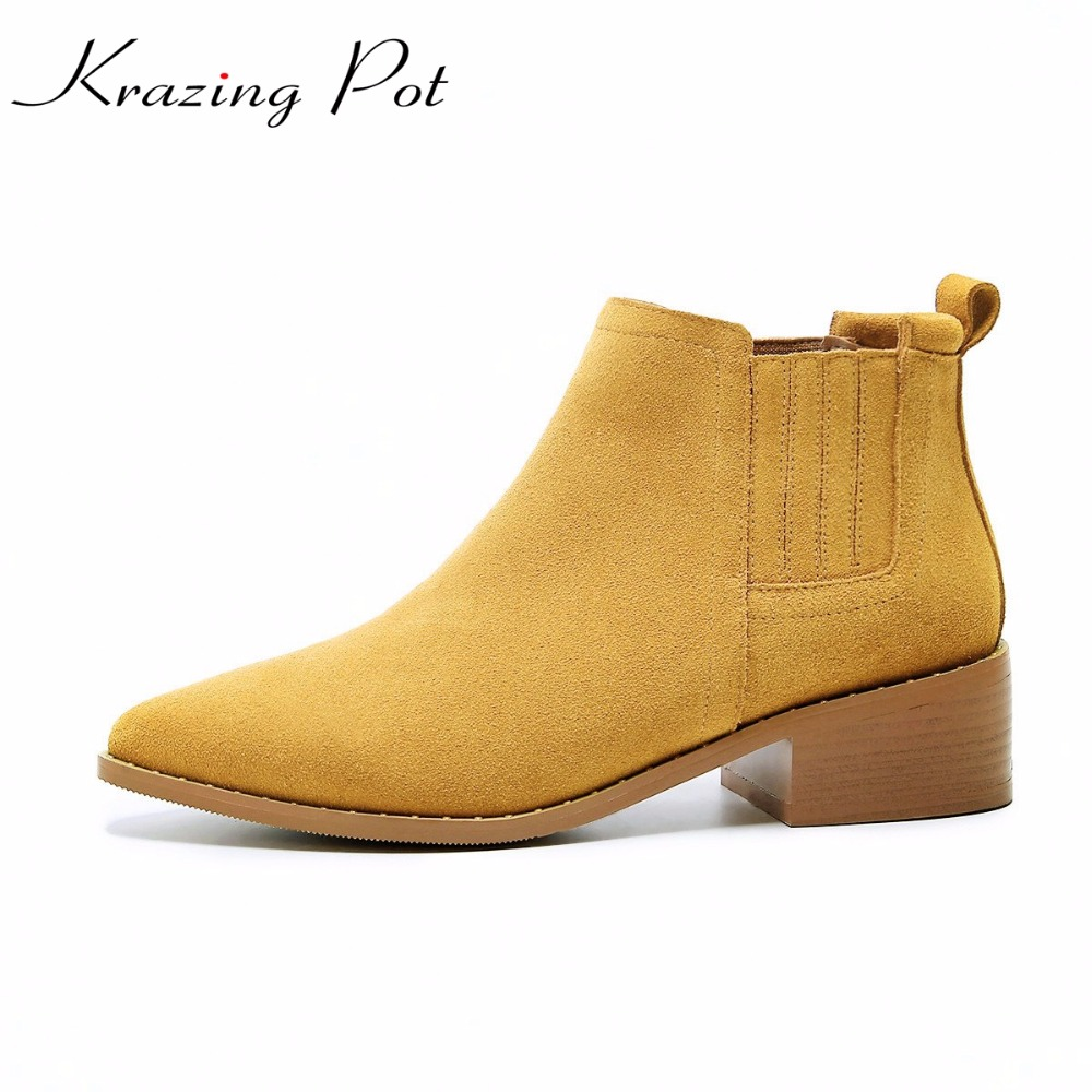 Krazing Pot cow suede colorful slip on boots women superstar pointed toe med heels cozy nude fashion pregnant ankle boots L07 krazing pot big szie cow suede slip on thick heel tassel bowtie winter pointed toe fashion superstar runway ankle boots l5f1