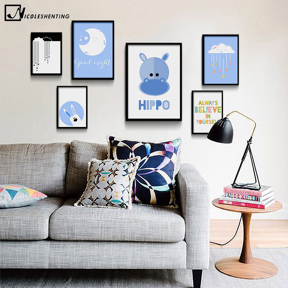 NICOLESHENTING Moon Cartoon Hippo Minimalist Art Canvas Poster Painting Nursery Wall Picture Modern Home Baby Room Decoration