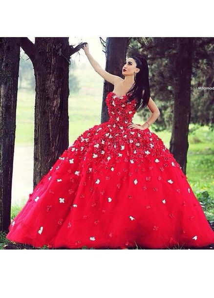 Aliexpress.com : Buy Vintage Elegant Red Ball Gowns Beautiful Hand ...