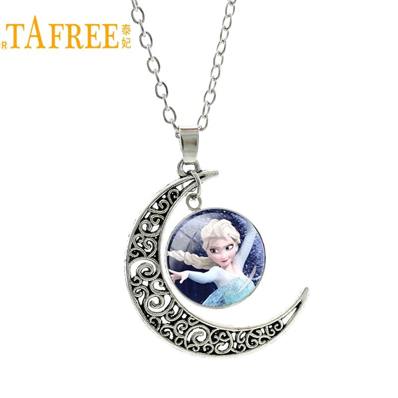 TAFREE Silver Color Moon Necklace European Style Snow Queen Elsa Anna Princess Pendant Charm For Sister Girls Cartoon Gift ES127