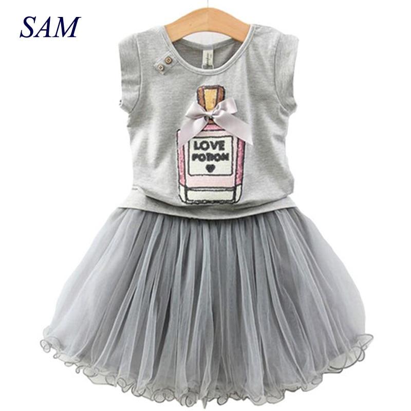 Комплект для девочек, летняя хлопковая футболка с короткими рукавами и принтом флакона духов + кружевная короткая юбка, комплект одежды для детей, 2019|girls set|kids clothing setclothing sets | АлиЭкспресс