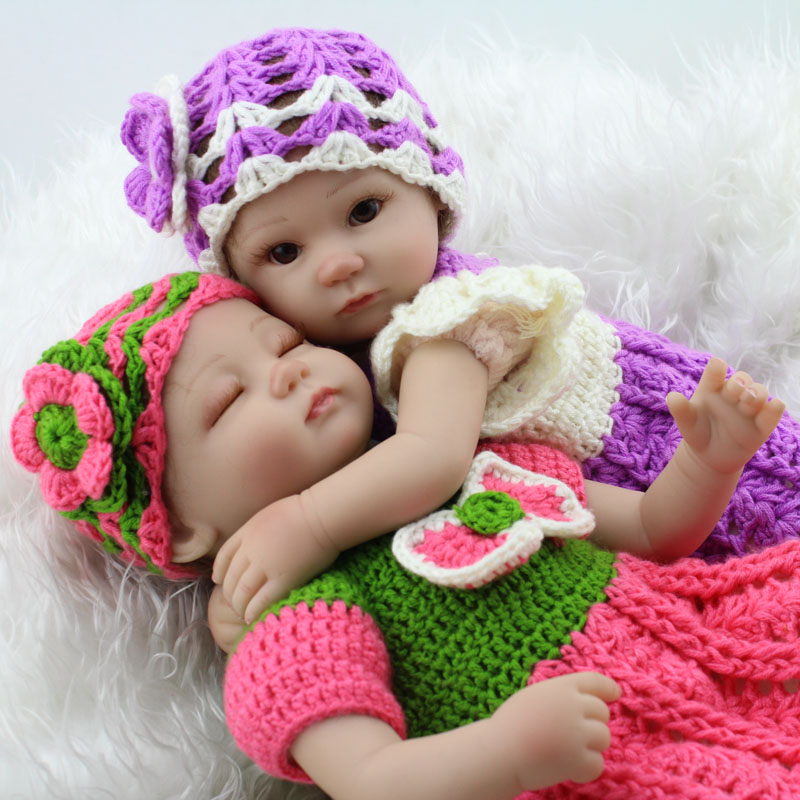 17'' Soft Silicone Baby Reborn Doll Realistic Lifelike Vinyl Dolls Twin Baby Toys For Newborn Twins lovely real like baby dolls reborn 23 soft silicone vinyl reborn baby doll toys realistic lifelike girl wear cute pink dress
