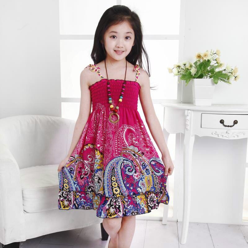 8e63e1aa3f36 Kid s Girl s Dresses Beach Flower Dress Bohemian Girls Summer Princess  Dress Knee length Cotton Dresses Children Cloting 2 10T-in Dresses from  Mother   Kids ...