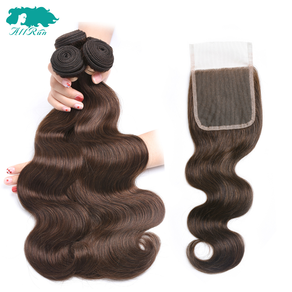 #4 Light Brown Malaysian Hair Weave Bundles With Lace Closure 2/3 Human Hair Body Wave Bundles With Closure Non Remy Extensions