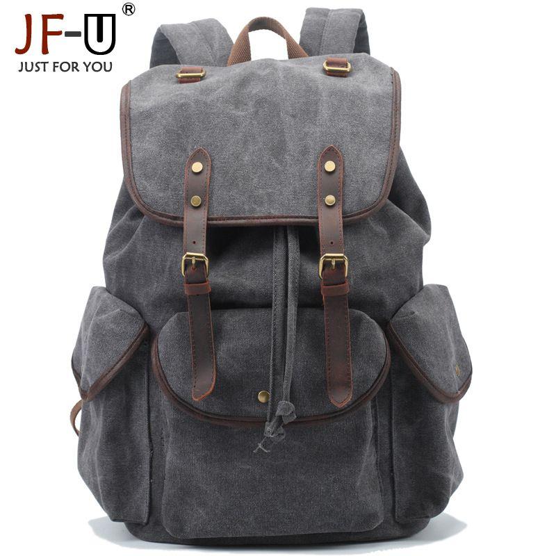 ФОТО JF-U Vintage New Men Canvas Solid Zipper Men's military Backpack Male Backpacks For Teenage School Bags sac a dos homme mochila