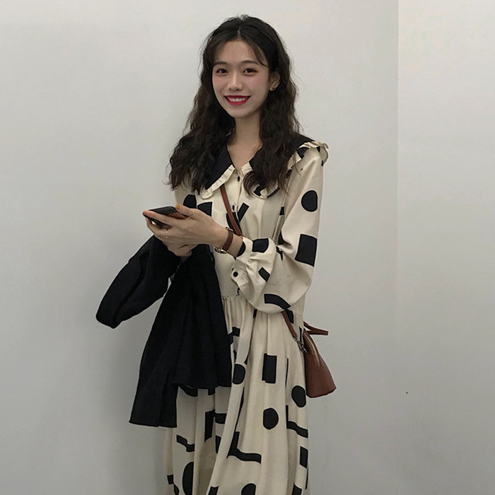 Geometric Printing Peter Pan Collar Vintage Dress Loose Fresh Casual Student Simple Autumn Women Long Dress Donna Vestido Abito 2