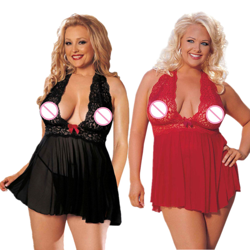 Nightdress Womens Erotic Lingerie Underwear Babydoll Plus Size Sexy Intimate Goods Transparent Negligee Costumes