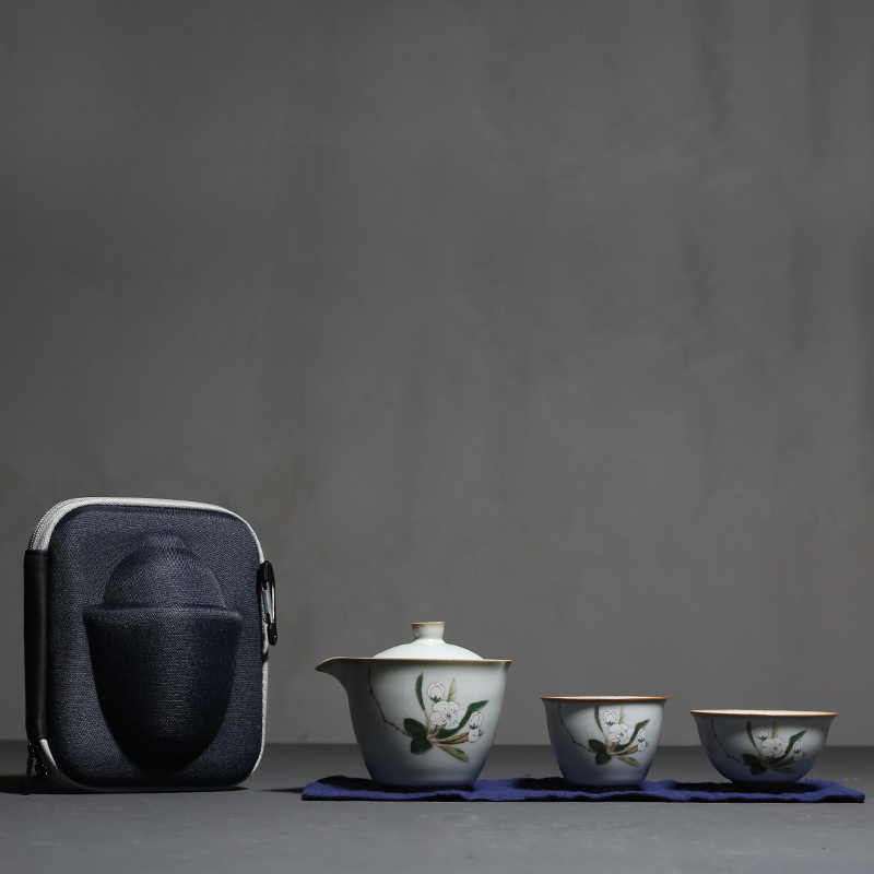 PINNY votre four ensemble de thé en porcelaine Portable ensemble de thé en céramique Kung Fu 1 Pot 2 tasses fleurs peintes à la main Service de thé de voyage