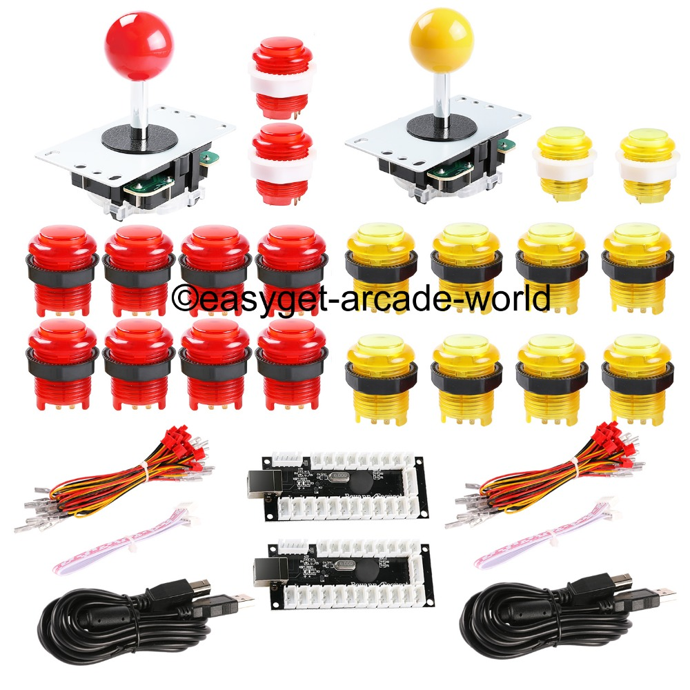 цена Arcade DIY Kits Parts USB Encoder + Arcade Gamepads + 20x LED Illuminated Lamps Buttons For MAME & Raspberry PI Retropie Project в интернет-магазинах