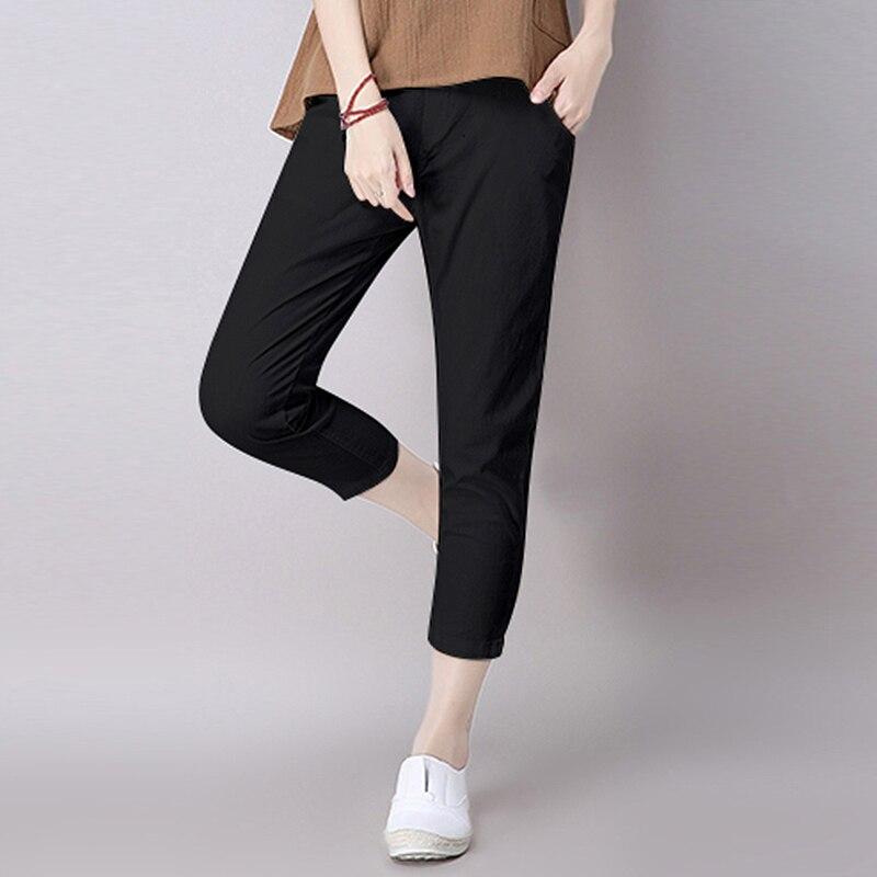 2019 Summer women Pants Loose Slim plus size Casual Pencil Harm Pants for women cotton Linen Ankle-Length Pants Trousers SS257