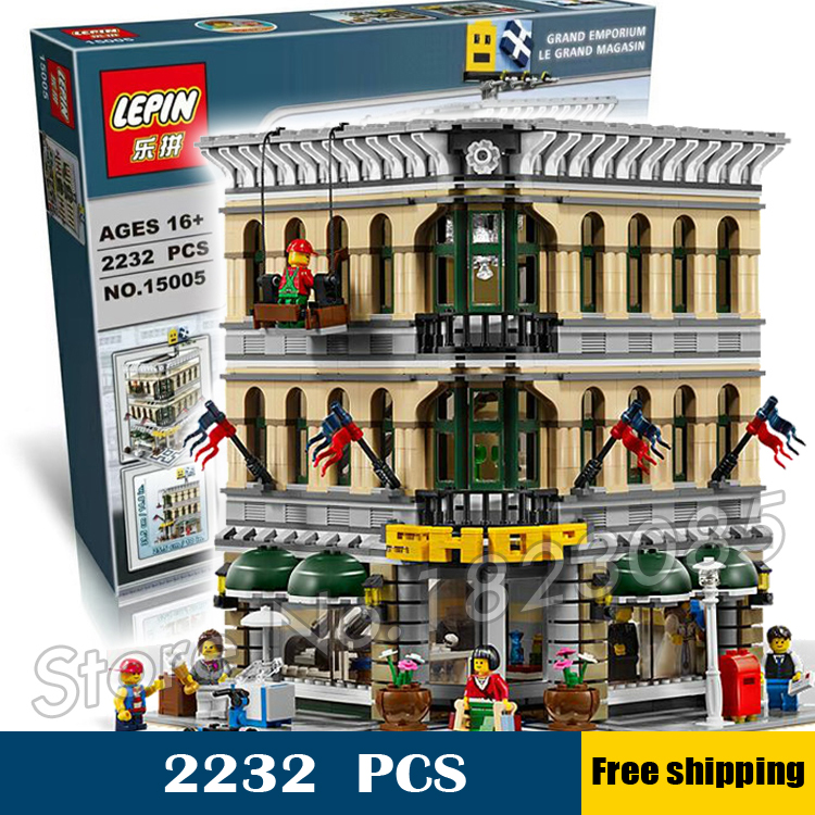 2232pcs Creator Grand Emporium modular buildings collection 3D 30004 Model Building Blocks Toys Compatible with Lego classic lele 30004 grand emporium creator architecture building blocks bricks toys diy for children model compatible with 10211