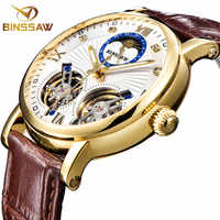 Men Automatic Mechanical Watch Fashion Gold Brand Sport Double Tourbillon Fashion Casual Leather New Watches Relogio Masculino