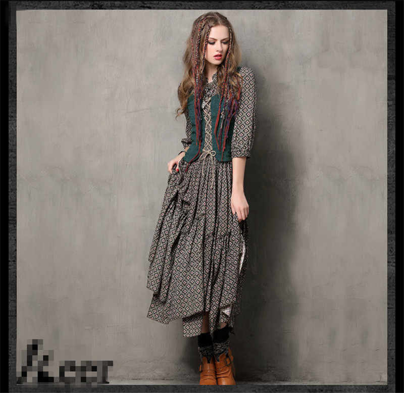 ... 2017 Women Long Dress Vintage Fake Two Piece Tunic Combo Dresses Ethnic  Style Meticulous Print Three ...