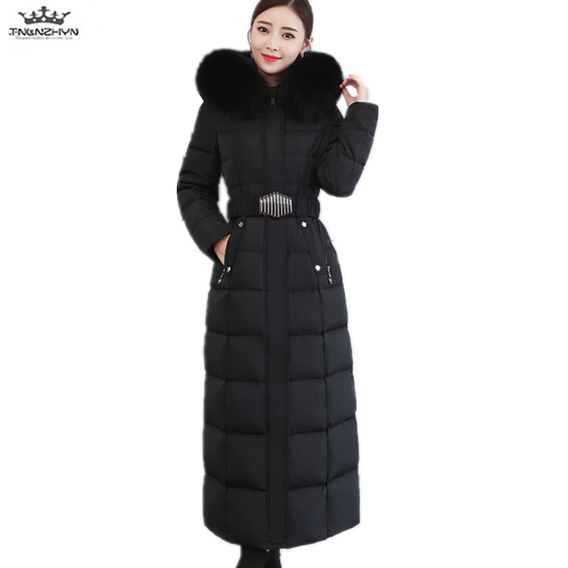 46f144e6329c 2019 Winter Women Thick Plus size Fox Fur collar Coat Hooded Warm Long Down  Jacket Female