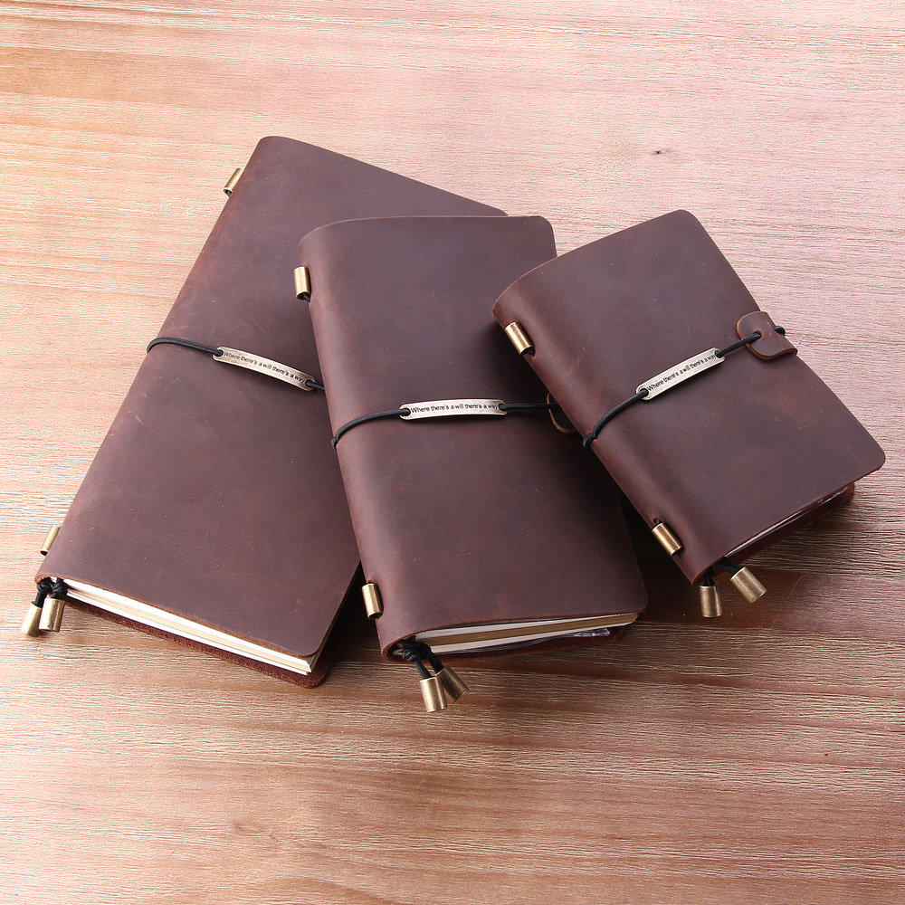 100% Genuine Leather Traveler'S Notebook Diary Journal Pocket Vintage Leather Tr
