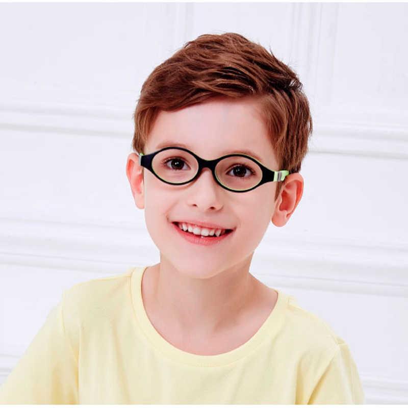 SECG Bonito Rodada Vidros Ópticos Quadro Óculos de Silicone Macio Flexível Crianças Óculos Crianças óculos de Armação Transparente