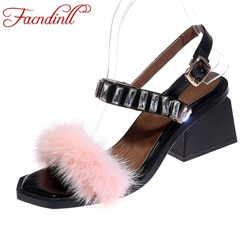 FACNDINLL women shoes 2018 new summer sexy high heels genuine leather real fur shoes woman dress party wedding gladiator sandals facndinll women sandals 2018 new summer