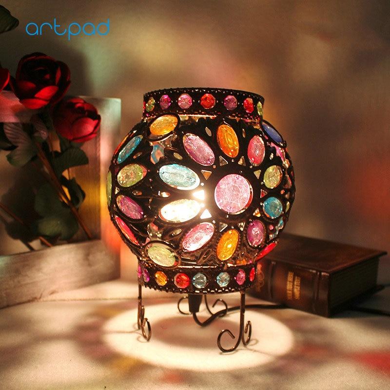 Artpad Mediterranean Sea Design Turkish Table Lamp Multi Color Dimming Bohemia Vintage Handmade Mosaic Lights Bedroom