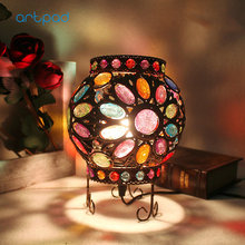 Artpad Mediterranean Sea Design Turkish Table Lamp Multi Color Dimming Bohemia Vintage Handmade Mosaic Lights Bedroom Decor E14