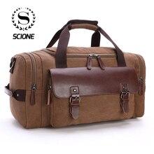 Scione Bolso cruzado de lona de gran capacidad para hombre y mujer, bolsa de viaje práctica, para fin de semana, bolso de hombro