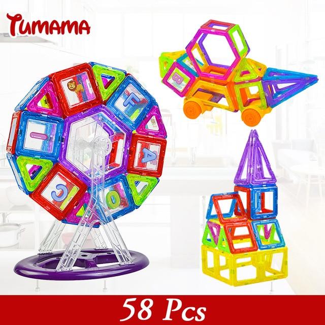 Магнитного Колеса 58 ШТ. Мини Магнитные Модели и Строительные Наборы Блоков 3D Строительство Дизайнер Набор Детей DIY Kds Развивающие Игрушки