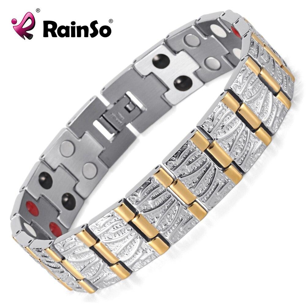 Prix pour Rainso Bijoux Cadeau D'anniversaire Pour Hommes Couple Or Placage Santé Germanium Acier Bio Magnétique En Acier Inoxydable Bracelet OSB-065