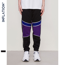 INFLATION Patchwork Joggers Sweatpants Men's Hip hop Swag 2018 Fashion Track Trousers Male Streetwear Elastic Waist Pants 8840W hip hop patchwork chains pants women elastic high waist black track pants capris embroidery letter trousers female streetwear