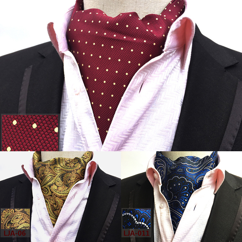 Ricnais New Quality Menns Ascot Neck Slips Vintage Paisley Floral Jacquard Silk Slips Cravat Slips Scrunch Self British Style